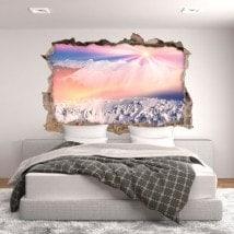 Vinilos 3D Sol Y Montañas Nevadas
