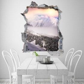 Vinilos 3D Montañas Nevadas Atardecer