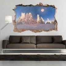 Vinilos 3D Luna Invierno Montañas Nevadas