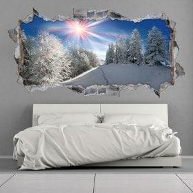 Vinilos 3D Montañas Nevadas Rayos De Sol