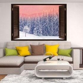 Ventanas Vinilos 3D Nieve En Las Montañas