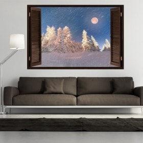 Ventanas 3D Luna Invierno Montañas Nevadas