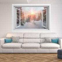 Ventanas 3D Rayos De Sol Montañas Nevadas