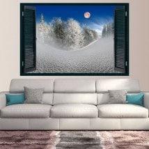 Ventanas De Vinilos Luna En Las Montañas Nevadas