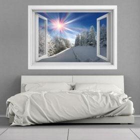 Ventanas Vinilos 3D Montañas Nevadas Rayos De Sol