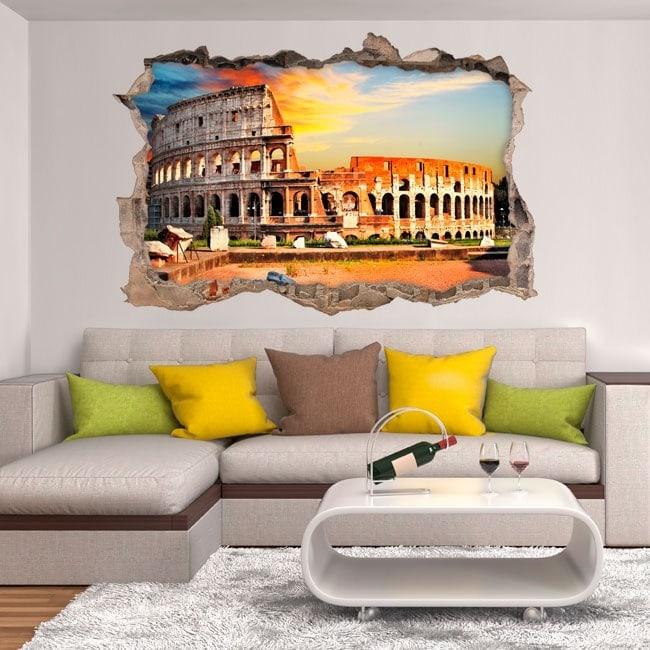Vinilos Pared Rota Coliseo Roma 3D