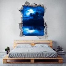 Vinilos 3D Luna Llena Sobre El Mar