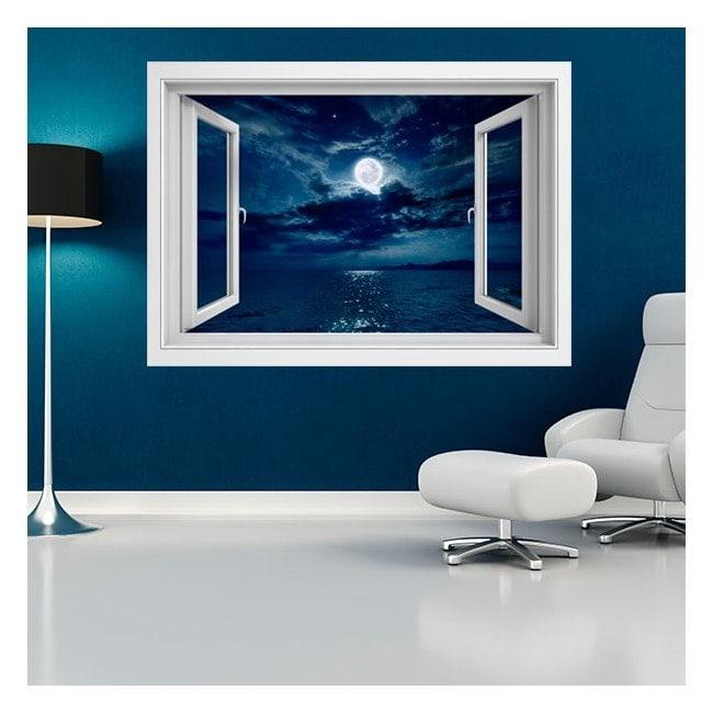 Ventanas De Vinilo 3D Luna Sobre El Mar