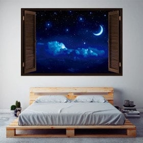 Ventanas De Vinilo 3D Luna Y Estrellas