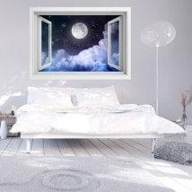 Ventanas En Vinilo Luna Llena 3D