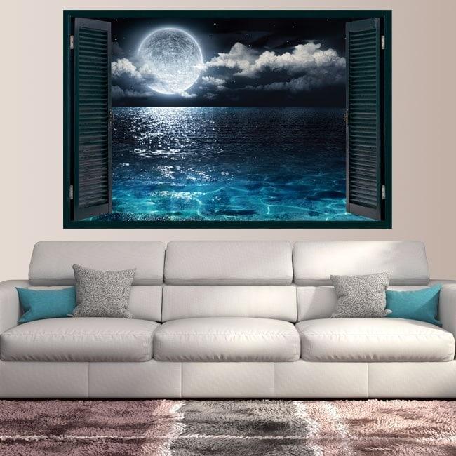 Ventanas En Vinilo 3D Luna Y Mar