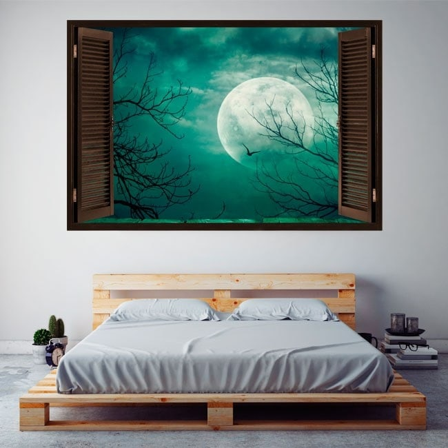Ventanas En Vinilos Luna Llena 3D