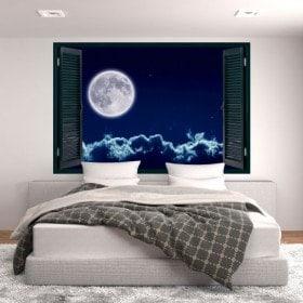 Ventanas En Vinilo 3D Luna Llena