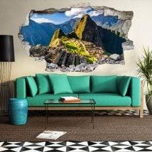Vinilos 3D Agujero Pared Machu Picchu