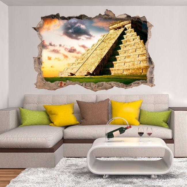 Vinilos 3D Pirámide Chichén Itzá
