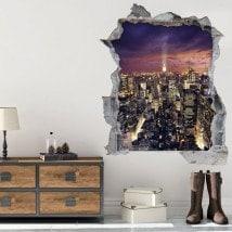 Vinilos 3D Atardecer En Manhattan Nueva York