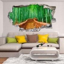 Vinilo 3D Pared Rota Camino Y Bambúes