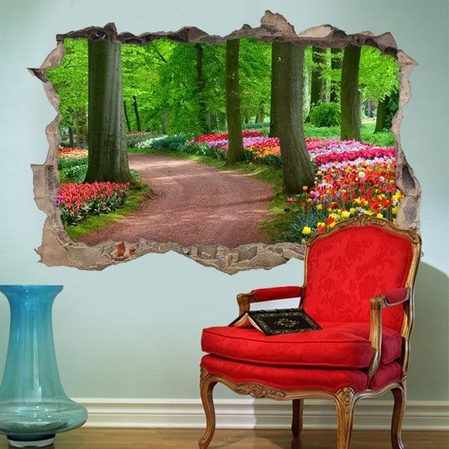 Vinilo 3D Camino Entre Árboles Y Flores