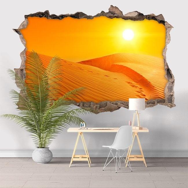 Vinilo 3D Puesta De Sol En El Desierto