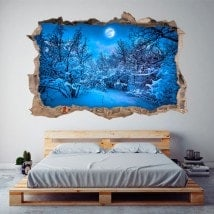Vinilo 3D Luna Llena Montañas Nevadas