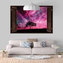Ventanas De Vinilo 3D Árbol Cielo Estrellas