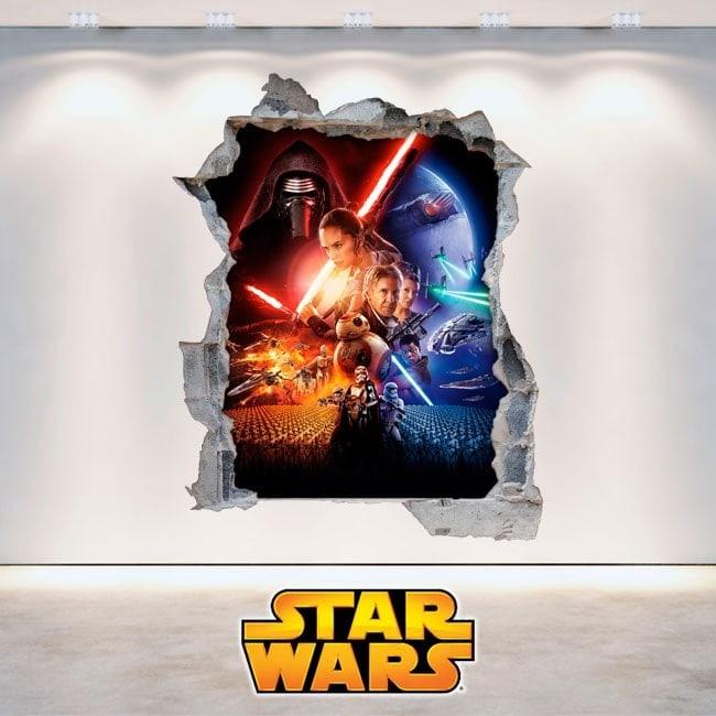 Vinilos Star Wars Pared Rota 3D