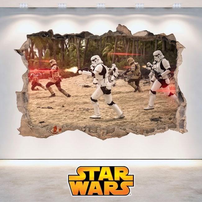 Pegatinas Star Wars Agujero Pared 3D