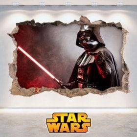 Vinilos Star Wars Agujero Pared 3D