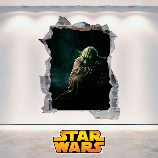 Vinilos De Pared Star Wars Yoda 3D