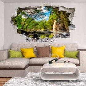 Vinilos Decorativos Cascadas Montañas 3D