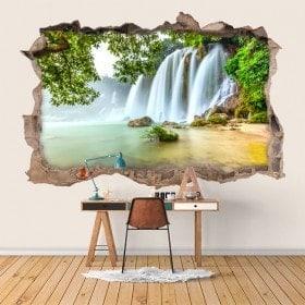 Vinilos Paredes Cascadas Naturaleza 3D