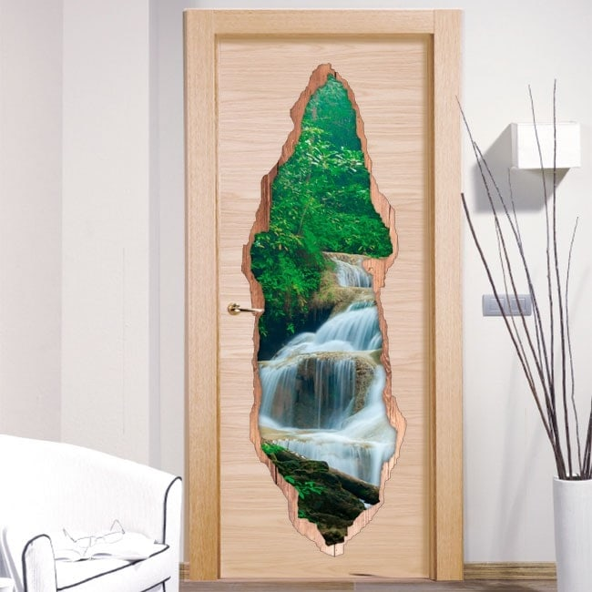 Pegatinas puertas cascadas naturaleza 3d - Pegatinas para puertas ...