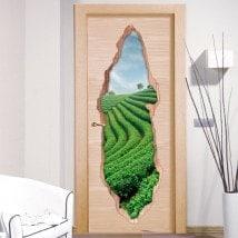 Pegatinas De Puertas Plantación De Té 3D