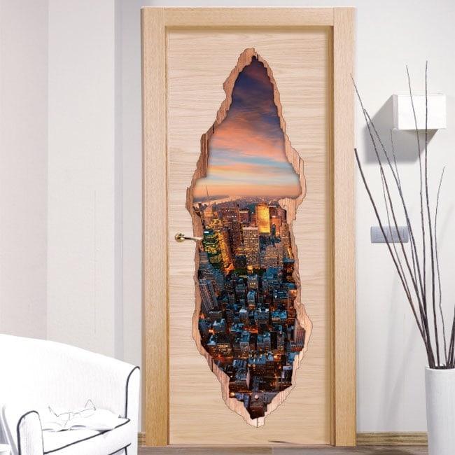 Vinilos Puertas Nueva York 3D