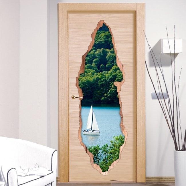 Vinilos De Puertas Velero En El Lago 3D
