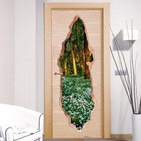 Vinilos Para Puertas Flores En El Bosque 3D