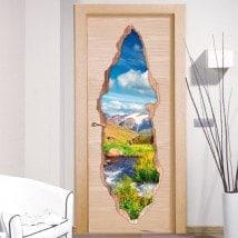 Vinilos Para Puertas Arroyo En Las Montañas 3D