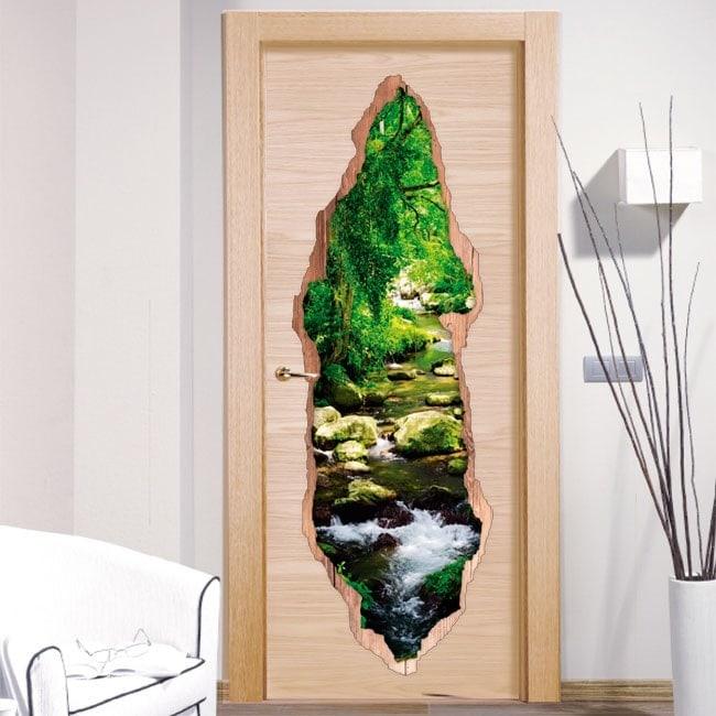 Vinilos De Puertas Arroyo En El Bosque 3D