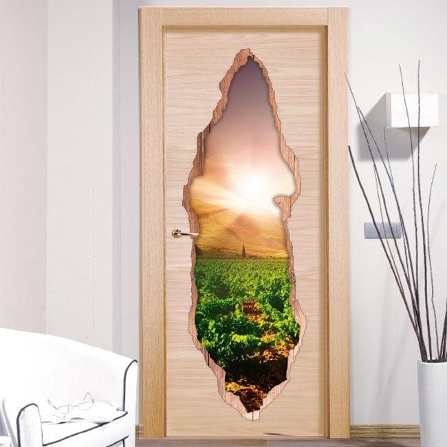 Vinilos De Puertas Atardecer En El Viñedo 3D