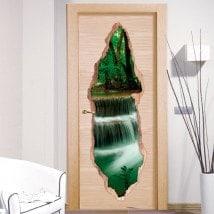Vinilos De Puertas Cascadas Naturaleza 3D