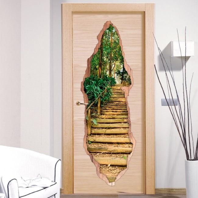 Vinilos Para Puertas Escalera En El Bosque 3D