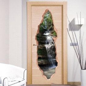 Vinilos Para Puertas Cascada Montaña 3D