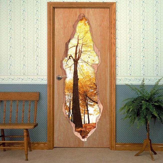 Vinilos para puertas rboles en oto o - Puertas de vinilo ...