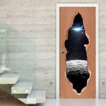 Vinilos Para Puertas Luna Estrellas Y Planeta