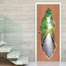Vinilos Para Puertas Puente En El Bosque
