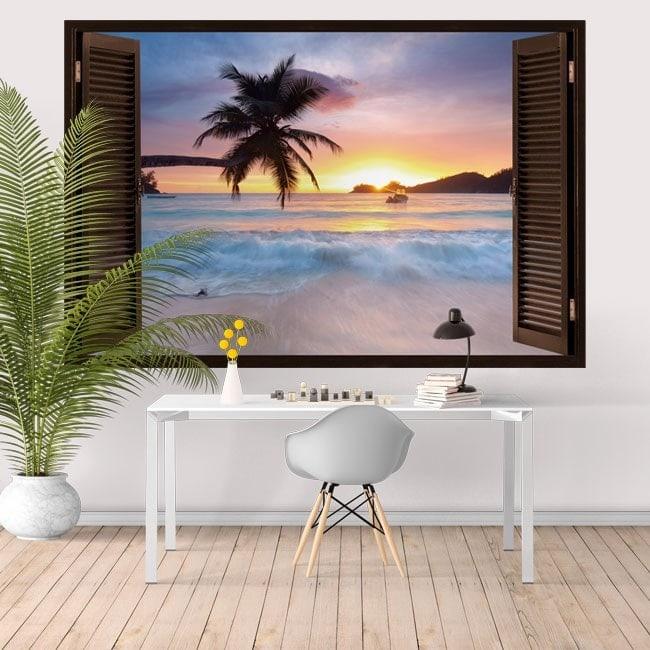 Ventanas En Vinilo Atardecer En La Playa 3D