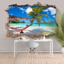 Vinilos 3D Hamaca En La Playa