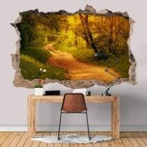 Vinilos Agujero Pared 3D Camino En El Bosque