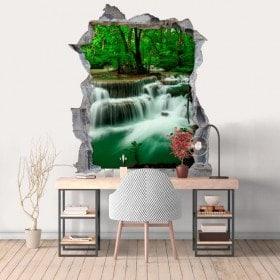 Vinilos Agujero Pared 3D Cascadas Naturaleza