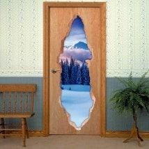 Vinilos Para Puertas 3D Montañas Nevadas